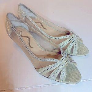 Nina Silver and Rhinestone Glittery Wedge Shoes